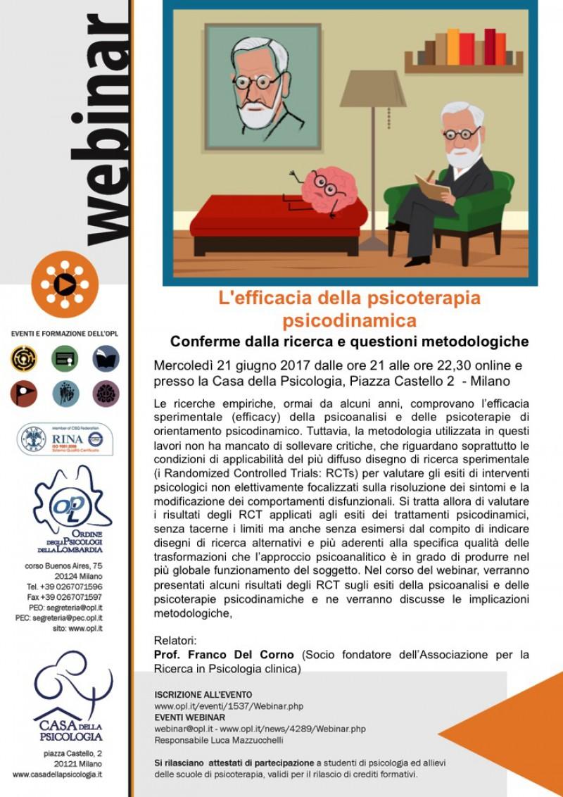 Webinar OPL: L'efficacia Della Psicoterapia Psicodinamica. Conferme Dalla Ricerca E Questioni Metodologiche