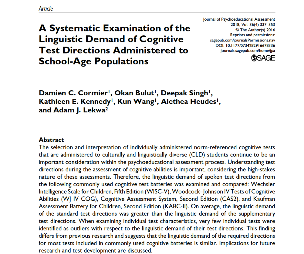 A Systematic Examination Of The Linguistic Demand Of Cognitive Test